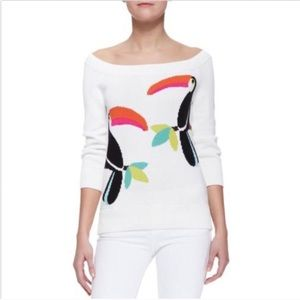 KATE SPADE white Toucan sweater plus size XL